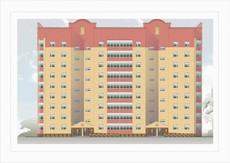 Остекление 9 этажного дома в г.Вишневое