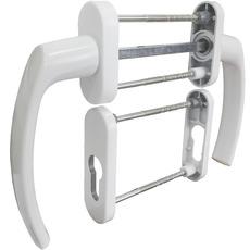 Балконная ручка 2-сторонняя + накладки под цилиндр (белая)