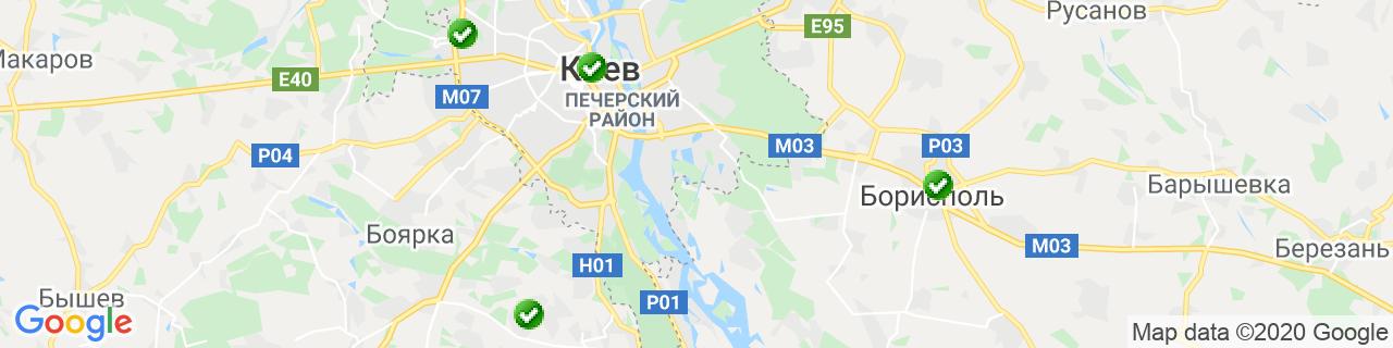 Карта объектов компании Первая Оконная Компания