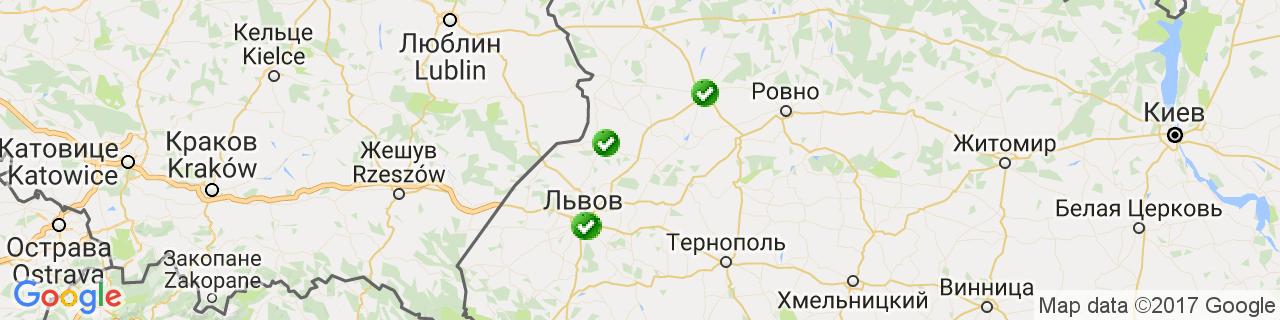 Карта объектов компании Архітектурне засклення