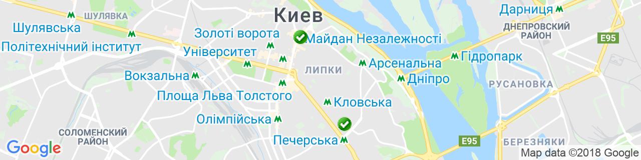 Карта объектов компании Буглак