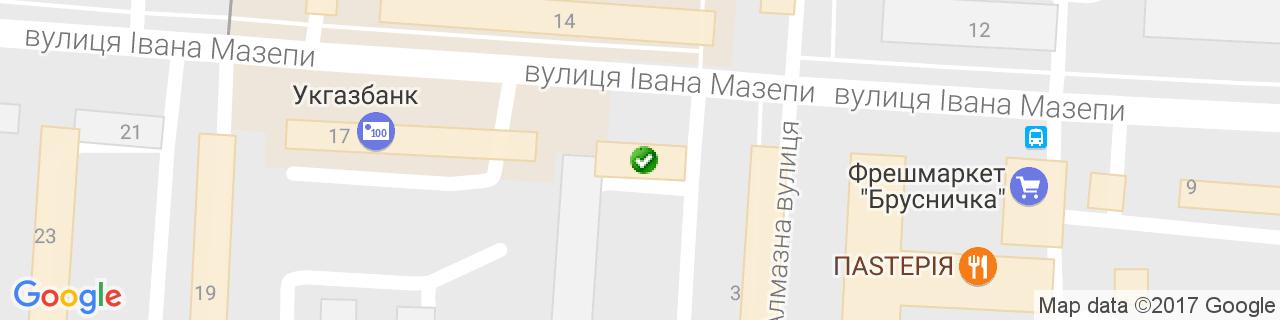 Карта объектов компании Центр Вікон