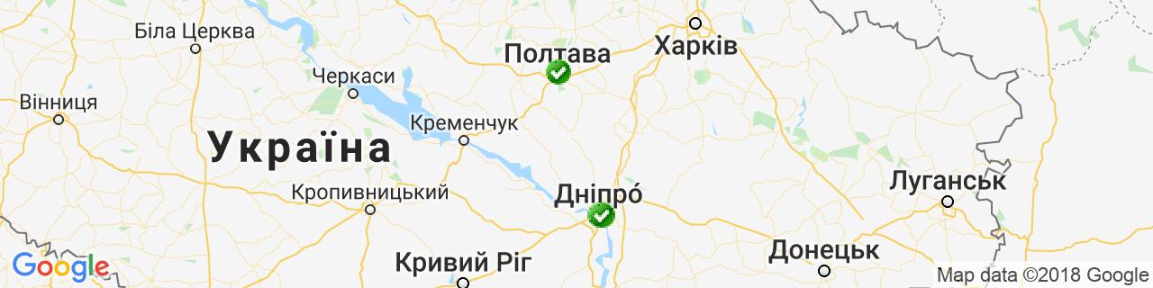 Карта об'єктів компанії Фабрика вікон ЕКІПАЖ