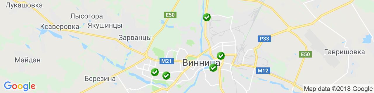 Карта объектов компании LUVIN