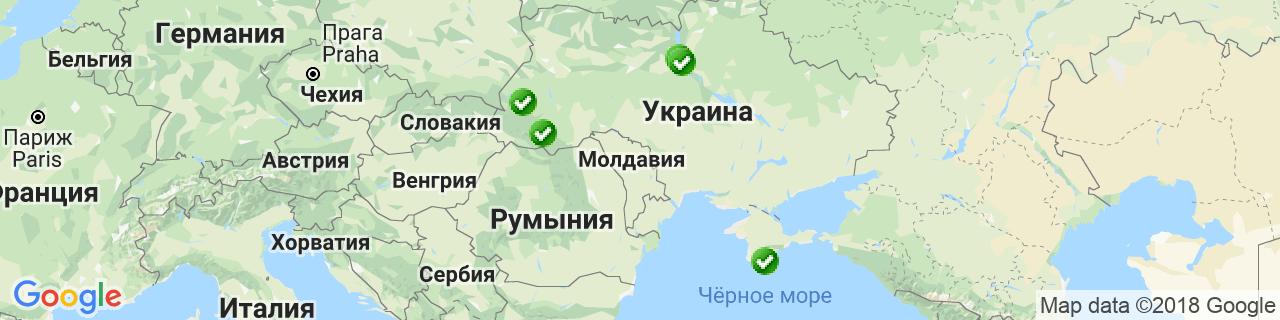 Карта объектов компании КВВ Украина