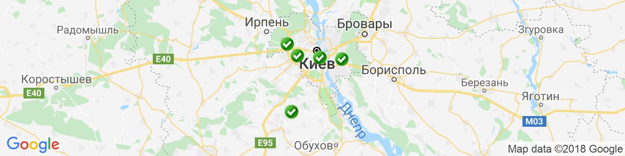 Карта объектов компании КИЕВПЛАСТ