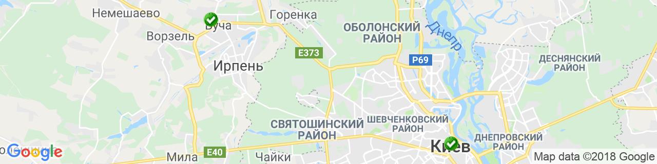 Карта объектов компании Фрам Житомир