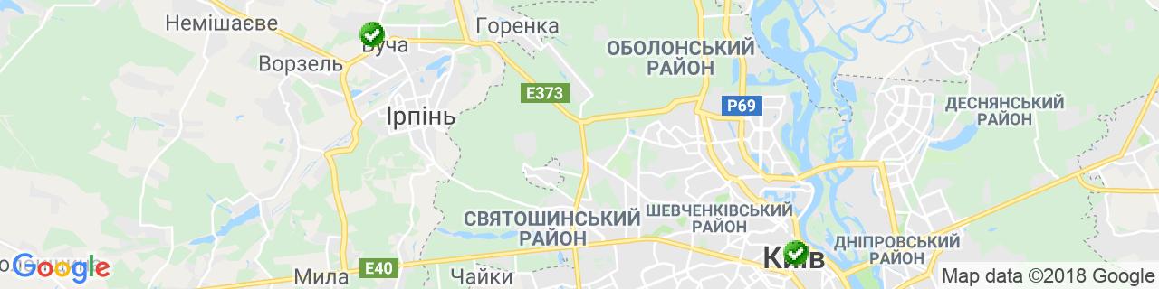 Карта об'єктів компанії Фрам Житомир