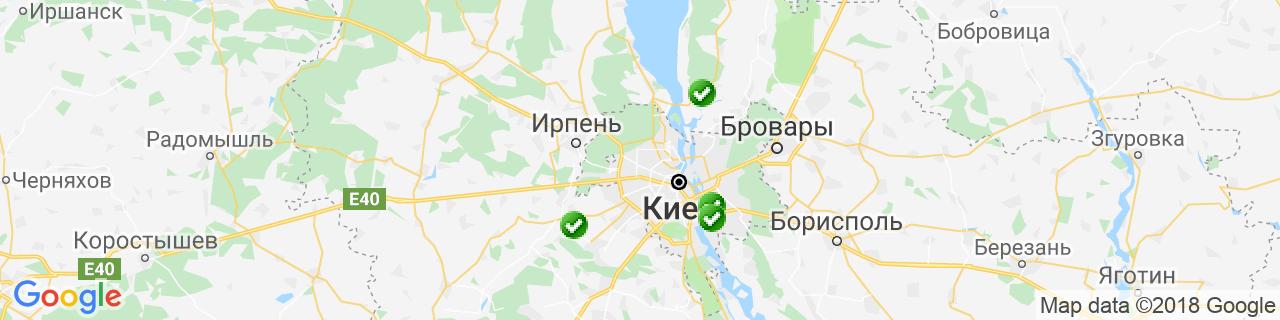 Карта объектов компании Окна & Двери