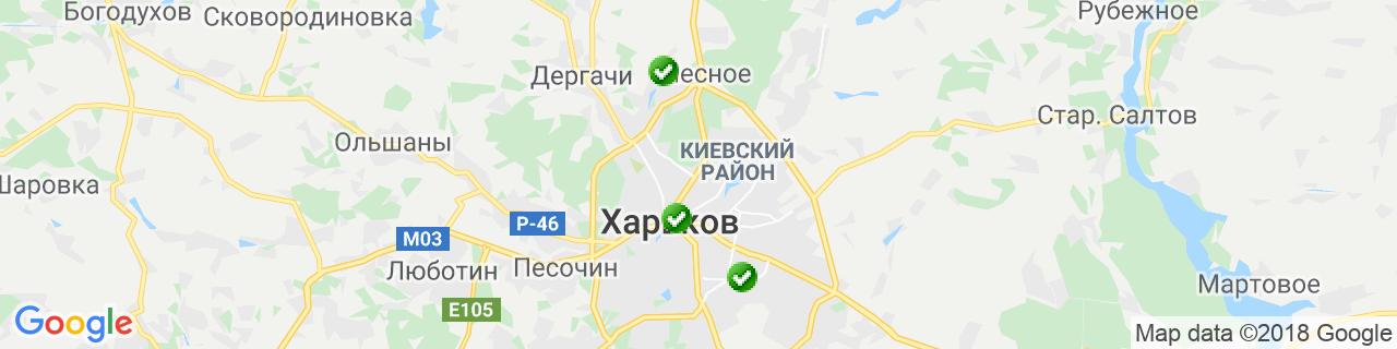 Карта объектов компании Окна Мегаполиса