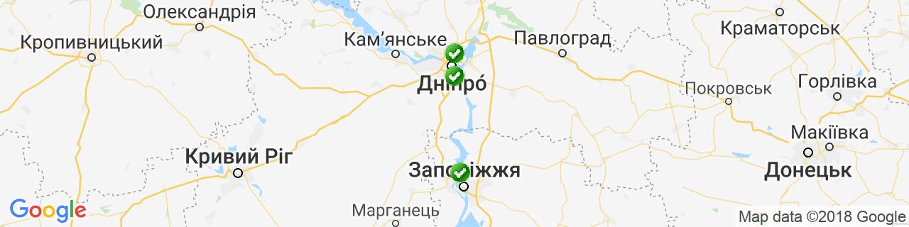 Карта об'єктів компанії Окнасервіс