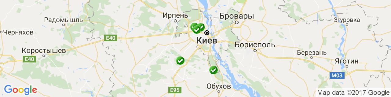 Карта об'єктів компанії Олсвіт