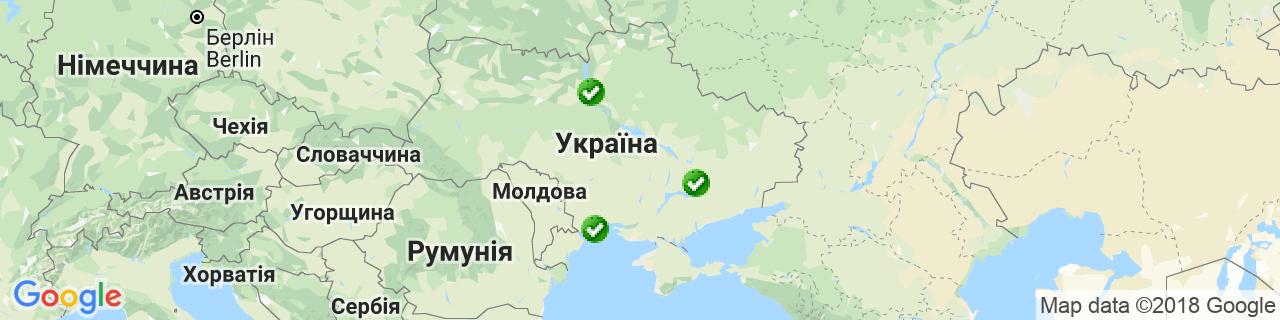 Карта об'єктів компанії ПСО ГЕРМЕС