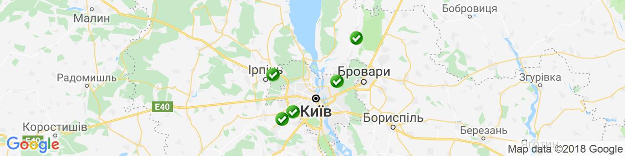 Карта об'єктів компанії Вікна в світ