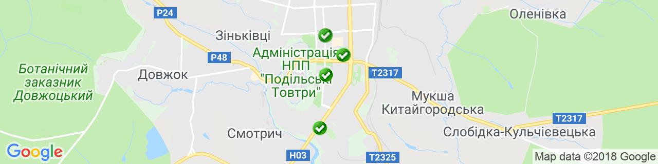 Карта об'єктів компанії ТМ ВікноПлюс