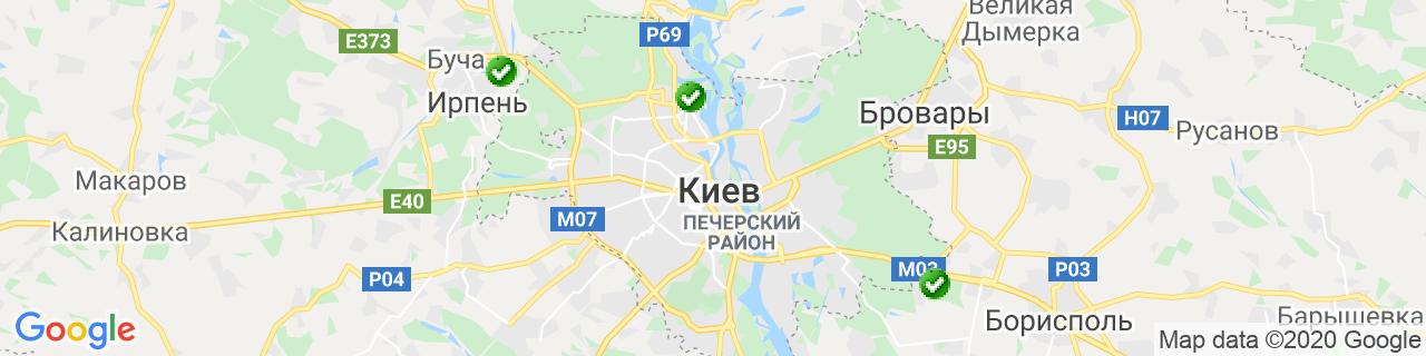 Карта объектов компании ВДТ (Віконно-Дверні Технології)